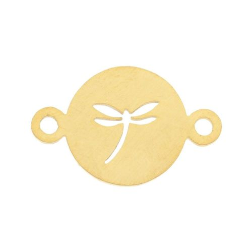 Dragonfly / connector / surgical steel / 14x22x1mm / gold / 1pcs