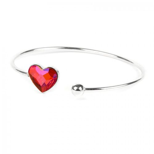Ready To Wear Sterling Silver 925 Astral Pink Heart Bangle w/Swarovski Crystal
