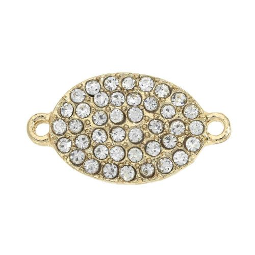 Glamm™ / oval / connector / 42 zircons / 21x12mm / gold plated / hole 1.5mm / 1pcs