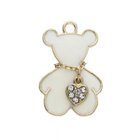 SweetCharm ™ Necklace Bear / charm pendant / with crystals / 21x15x2.5mm / gold plated / white / 1pc