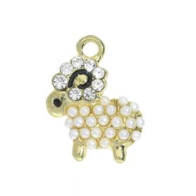 FancyCharm ™ / lamb / charm pendant / 18x14x3mm / gold, cream / 1piece