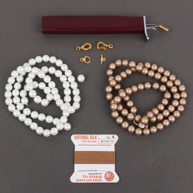 Almond & White Pearl Knotter Necklace Kit