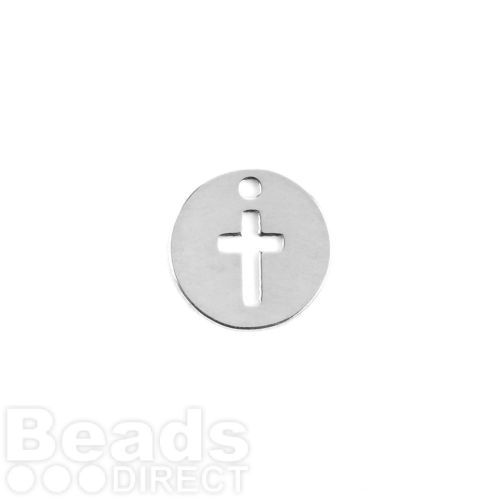 Sterling Silver 925 Tiny Charm Cut Out Cross 8mm Pk1