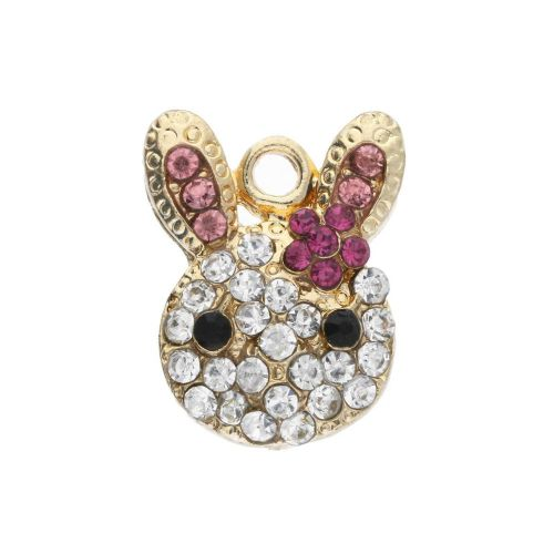 Glamm ™Rabbit / charm pendant / with zircons / 19x15x4.5mm / gold plated / clear-pink / 1pcs