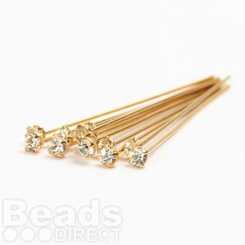 17704 Swarovski Gold Plated Headpins with Clear Crystal 0.5x39mm Pk12
