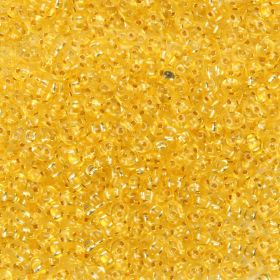 Preciosa Twin Hole Seed Beads Silver Line Yellow 2.5x5mm 10g