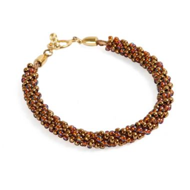 Bronze Beaded Kumihimo Bracelet