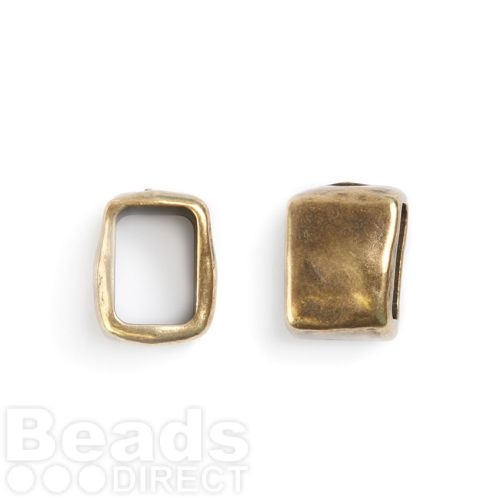 Antique Gold Square Charm Ring 10x13x11mm Inner 10x7mm