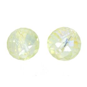 CrystaLove™ crystals / glass / faceted round / 8x10mm / lemon / transparent / iridescent / 6pcs