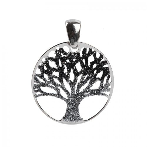 Sterling Silver 925 Silver Glitter Tree of Life Charm 25mm Pk1