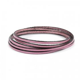 Mauve Flat Genuine Leather Cord 3mm Pre Cut 1metre