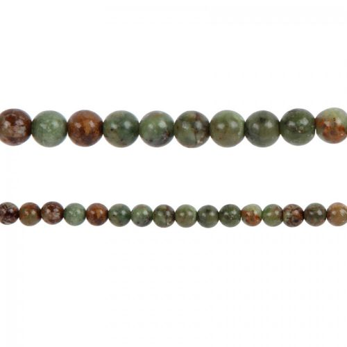 """X"" Green Opal Semi Precious Round Beads 4mm 15"" Strand"
