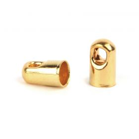Gold Plated Cord Ends with Hole 4x7mm Pk50