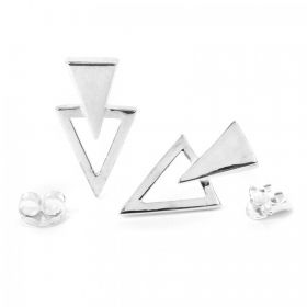 Sterling Silver 925 Double Triangle Earrings with Backs 1xPair