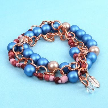 Coral and Blue Bracelets