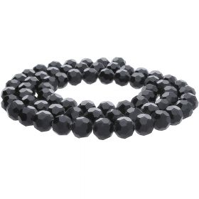 CrystaLove™ / glass crystals / round / 4mm / black / lustered / 100pcs