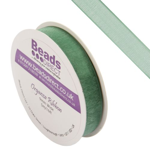 X-Green Organza Ribbon 9mm Sold on a 5metre Reel