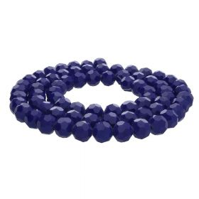 CrystaLove™ crystals / glass / faceted round / 8mm / navy blue / lustered / 65pcs