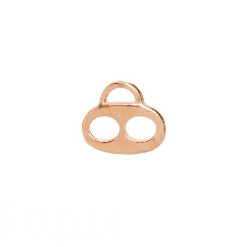 X-Rose Gold Plated Two Hole Flat Charm Carrier 13x15mm Pk1