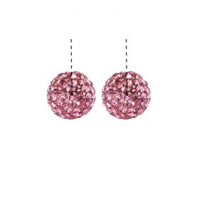 Pink Premium Shamballa Fashion Half Drilled 10mm Round Beads Pk2