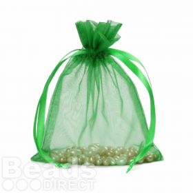 "Green Organza Bag 5""x6.5"" Pack 5"