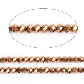"Bronze Full Coat Essential Crystal Glass Faceted Rondelle Beads 6mm 16""Strand"