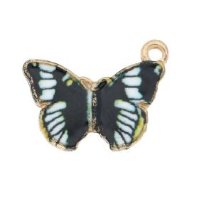SweetCharm ™ Butterfly / charm pendant / 15x20x2mm / gold plated / black- white / 2pcs
