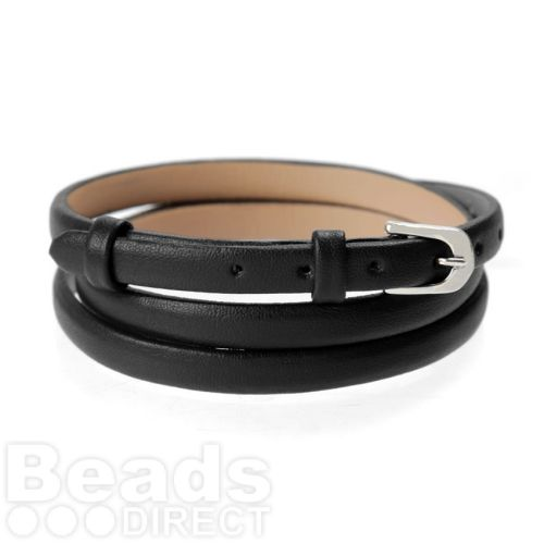 Black Faux Leather Bracelet Strap with Buckle and Holes 62cm Pk1