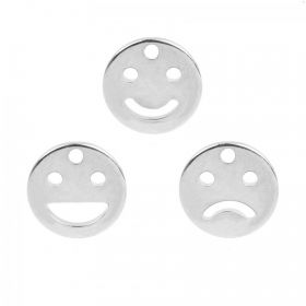 Silver Plated Emoji Charms Pack of 3 10mm