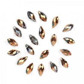 Bronze 1/2 Coat Crystal Glass Briolette Drop Beads 6x12mm Pk20