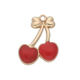 SweetCharm ™ Cherries / charm pendant / 27x20x3mm / gold plated / red / 1pcs
