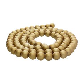 SeaStar™ satin / round / 8mm / gold-beige / 120pcs