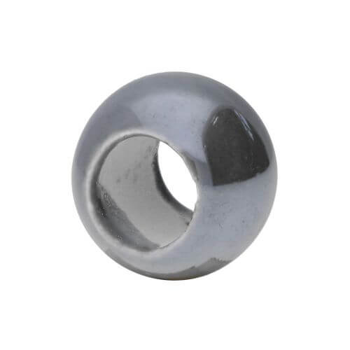 Ceramic beads / round / 15.5x20x20mm / grey colour / hole 10mm / 2pcs