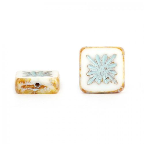 White and Blue Preciosa Czech Glass Patterned Square 10mm Pk10