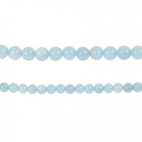 "Aquamarine Semi Precious Round Beads 6mm 15"" Strand"
