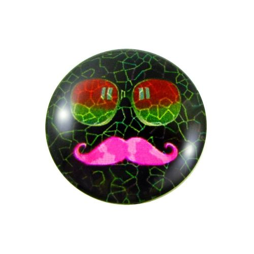 Glass cabochon with graphics K14 PT1016 / black and pink / 14mm / 4pcs