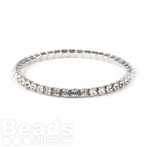 """X"" 37E02 Swarovski Crystal Stretch Bracelet Rhodium Plated with Crystal 18cm Pk1"