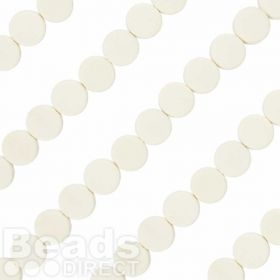 "Flat Round Wood Beads White 5x15mm 16"" Strand"