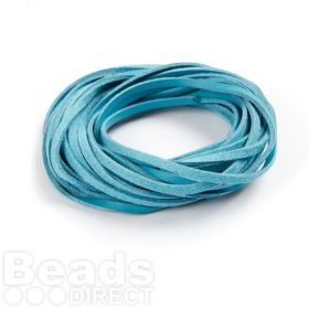 Double Sided Leather/Suede 3mm Flat Cord Blue and Turquoise 5m