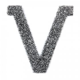 Swarovski Crystal Letter 'V'-Self Adhesive Fabric-It Black CAL Pk1
