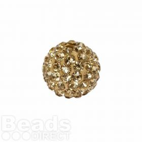 Gold Crystal 10mm Premium Shamballa Fashion Round Pk1