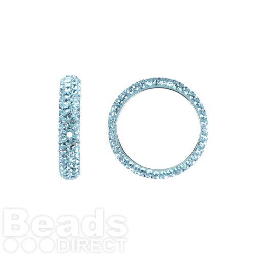 85001 Swarovski Crystal Pave 2 Hole Ring 18.5mm Aquamarine Pk1