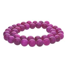 Jade / round / 10mm / deep pink / 40pcs