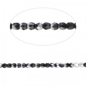 Preciosa Czech Fire Polished Beads 4mm Frosted Black and Silver Pk100