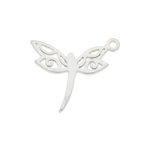 Dragonfly / pendant / surgical steel / 15x12x1.3mm / silver / 2pcs