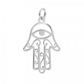 Sterling Silver 925 All Seeing Eye Hand Charm 14x22mm Pk1
