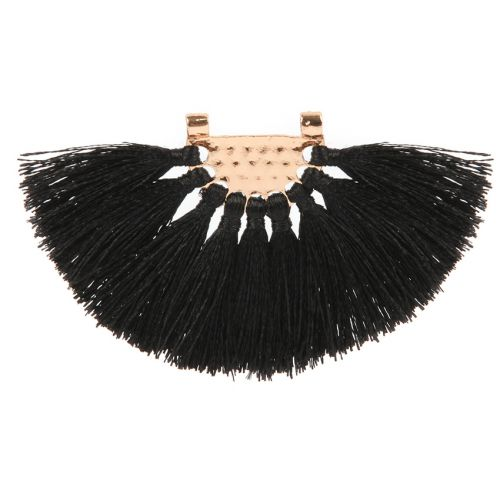 Black Fan Tassel with Gold Plated Hammered Top 45x80mm Pk1