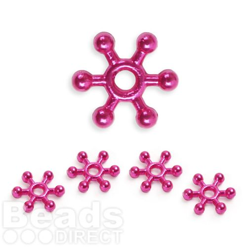 Hot Pink Colour Plated Snowflake Spacer Champagne Bubble Beads 10mm Pk50