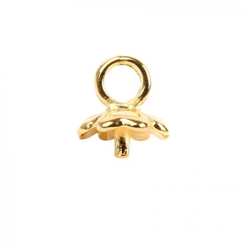 X-Gold Plated Flower Cup End with Post & Loop 11mm Pk1