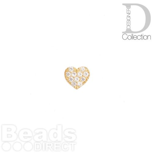 Gold Plated Flat Heart Bead Cubic Zirconia 8mm Pk1